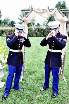My handsome Marine and his best friend. Marine Wedding, USMC Wedding, Dress Blues, Mason Jars