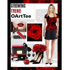 Red Rose Outfit by sgolis on Polyvore featuring #OartTee #redrose #workoutfit