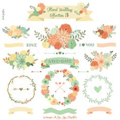Floral Wedding Collection 3. Wedding Flower Clipart. Floral Wreaths, Banners, Arrows, Lettering. 24 images. 300 dpi. AI, Eps, Jpg, Png files...