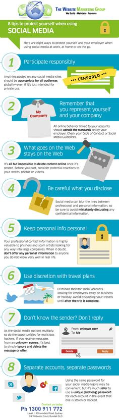 8 Ways to Stay Safe When Using Social Media [INFOGRAPHIC] Bit basic, but ok