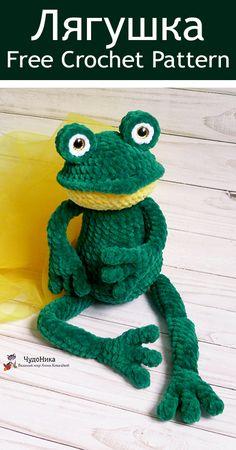 Diy Crochet Doll, Crochet Frog, Crochet Dragon, Crochet For Kids, Diy Crochet Accessories, Amigurumi Doll Pattern, Frog Crafts, Loom Knitting Projects, Stuffed Animal Patterns