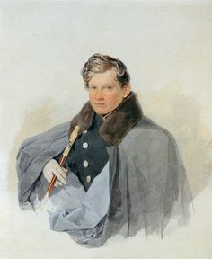 """Sokolov_Prince Sergei Troubetzkoy - April of Adjutant General Alexander I. Prince V.Trubetskoy, belonged to number of friends Lermontov, was second to poet's duel with Martynov+member of """"Circle of sixteen Watercolor Portraits, S Man, Russia, The Past, Art Gallery, Images, History, People, Painting"""