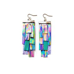 Boo & Boo factory Holographic Leather Fringe Earrings