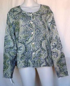 FLAX UNDERFLAX 2/3 Shirt, Sky Paisley, Linen, 1G (1X), Sleepwear / Blouse, NWOT #Flax #Sleepshirt