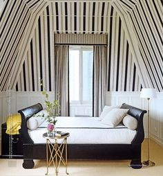 Fun use of lines and simple decor to create a fabulous niche for day dreaming