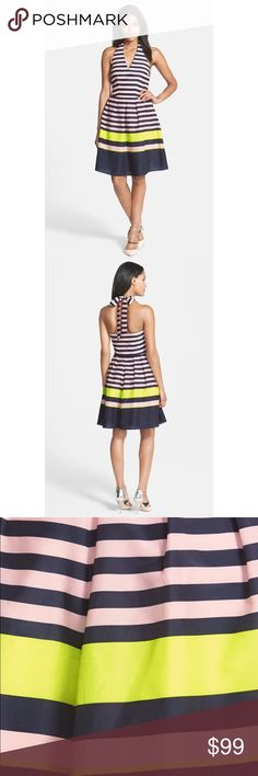 """Candy Bar Stripe Print Dress Nautical stripes get a bold neon pop on this halter-top dress styled with a full, ladylike skirt. 30"""" center front length (size 3). Fully lined. 100% polyester. Machine wash cold, dry flat. Ted Baker Dresses Midi"""
