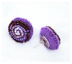 Violet Felt Earrings, Purple round wool earrings with seed beads, violet felt accessory, felt earrings with embroidery, Gift for her