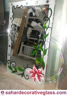 Glass Etching Designs, Glass Painting Designs, Stained Glass Designs, Balcony Glass Design, Window Glass Design, Etched Glass Door, Etched Mirror, Beautiful Ceiling Designs, Fancy Mirrors