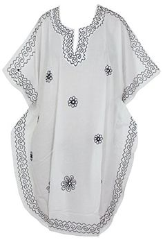 Womens Swimwear Beach Dress Casual Caftan White Black Plain US 14  28 Spring Summer 2017 >>> Want additional info? Click on the image.
