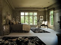 Stylish Pella Architect Series casement windows add character to this tranquil master bedroom.