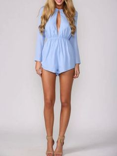 Blue Cut Out Romper Playsuit with Long Sleeves | Choies