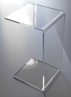 "Clear Acrylic Lucite Plexiglass END SLIDE TABLE lucite 23"" high couch laptop #plexiglasbrand #Tables"
