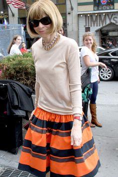 Anna Wintour wears orange skirt to New York Knicks playoffs