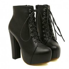Black Round Toe Lace-Up Boots $38