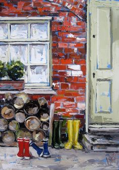 Back door boots Oil on canvas 50x60cm €1650 This painting is part of a series from Marlfeild House in Gorey Co. Wexford.