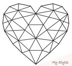 Strepik Geometrical Heart fake tattoo, a geometric heart built from triangles. L… Strepik Geometrical Heart fake tattoo, a geometric heart built from triangles. Love sometimes looks complicated, but it really isn't! Geometric Heart Tattoo, Geometric Drawing, Geometric Art, Triangle Love, Triangle Art, Origami Tattoo, 3d Pen, Fake Tattoos, Love Drawings