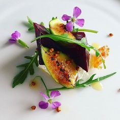 Merlot roasted Beetroot, fig , goats cheese, rocket & wild honey by Chef…