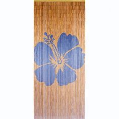 Natural Navy Hibiscus Is A 90 X 200cm Beaded Door Curtain Featuring A  Single Stencil Image