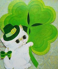 Vintage St Patricks Kitty Card