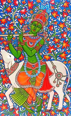 Pichwai Paintings, Indian Art Paintings, Kalamkari Painting, Madhubani Painting, Phad Painting, Indian Traditional Paintings, Mural Art, Murals, Kerala Mural Painting