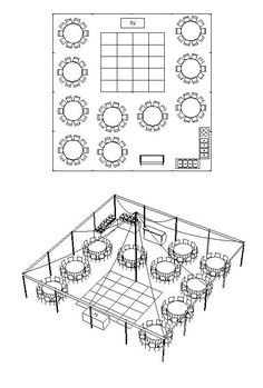 Tent Size Calculator (shown: 40' x 40' Tent for 100 People with Bar, Buffet, DJ & Dance Floor)