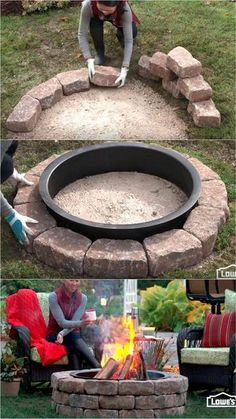 Wood Fire Pit, Fire Pit Grill, Wood Burning Fire Pit, Fire Pit Table, Diy Fire Pit, Fire Pit Backyard, Backyard Patio, Backyard Landscaping, How To Build A Fire Pit