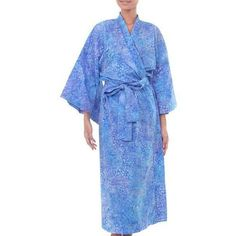 NOVICA Women's Batik Cotton Robe ($61) ❤ liked on Polyvore featuring intimates, robes, blue, clothing & accessories, loungewear, blue robe, kimono bath robe, dressing gown, kimono dressing gown and blue dressing gown