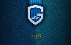 Download wallpapers KRC Genk, 4K, Belgian Football Club, Genk FC, logo, emblem, Jupiler Pro League, leather texture, Genk, Belgium, Belgian First Division A, football