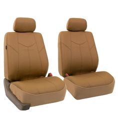 Unique Set Of 2 Universal Fit Low Back Encore Pattern Front Bucket Seat Cover Color Brown Sand