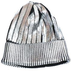Foiled Metallic Knit Beanie Hat