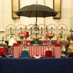 poppins candy buffet. LOVE the giant umbrella over the whole thing