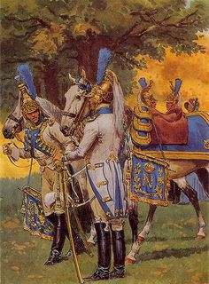 Empress Dragoons' Trumpeters.  As the mobility of the horse combined with the firepower of the musket, Dragoons became truly universal cavalry, typically employed for a broad range of both mounted and foot duties. At first, most nations mounted Dragoons on lower quality horses with resulting detriment when caught and overrun by opposing cavalry.
