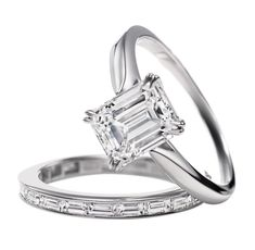 Dream ring-Harry Winston emerald cut solitaire diamond engagement ring