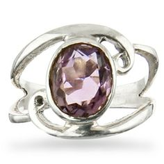 Silver Swirl Ring - Amethyst Heart Ring, Amethyst, Engagement Rings, Marigold, Silver, India, Jewelry, Enagement Rings, Wedding Rings