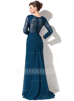 Trumpet/Mermaid Sweetheart Sweep Train Chiffon Lace Evening Dress With Ruffle Beading Sequins (017050390) - JJsHouse