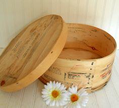 Large Round Wooden Cheese Bin - Vintage 1983 Storage Box - Ready to Repurpose