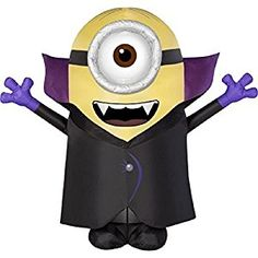 Stuart the Minion, cute Vampire inflatable Halloween Yard decoration. Just plug in and the Stuart Vampire inflates to 54 inches tall the figure also contains LED lights to light in the dark. Lots of Halloween fun.