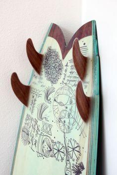 :: surf :: wood quad fins, surfboard art