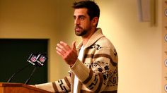The Dude abides: Aaron Rodgers throws 56 times, then dons one famous sweater Big Lebowski Sweater, The Big Lebowski, Packers Football, Best Football Team, Green Bay Packers Quarterbacks, Rodgers Packers, Go Pack Go, Aaron Rodgers, Green Sweater