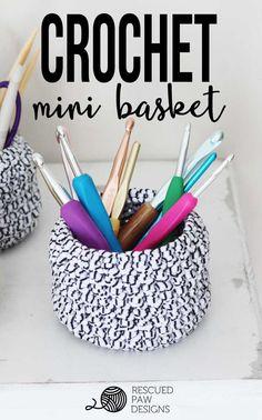 Mini Basket FREE Crochet Pattern by Rescued Paw Designs