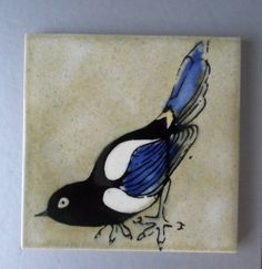 Withersdale Decorated Tile Magpie Bird Fiona Cutting