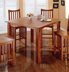 Kitchen Mission Style Furniture - Mission Style Solid Oak Tall Counter Height Dining Table