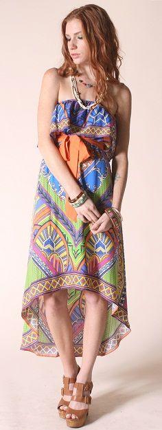 Paisley Print Bohemian Dress