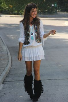 ethnic style and fringed boots