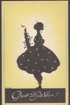 X0477 Nerman Silhouette postcard, Woman, Candle, New Year