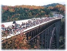 Bridge Day, New River Gorge Bridge, West Virginia. Would not actually want to base jump, but would like to see the festivities. Bridge Day West Virginia, New River Gorge, Virginia Homes, Space Place, Places To Go, Heaven, Bucket, Base, Spaces