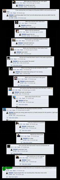 Eminem did a Q&A on Facebook #Eminem