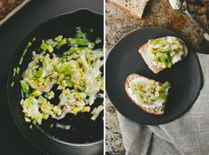 leeks and ricotta tartine
