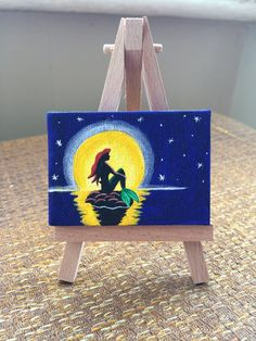 Miniature acrylic Painting art on easel - Ariel from Disney's The Little Mermaid