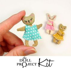 Tiny Doll Kit  Cute Animal Dolls Dollhouse by DollProject on Etsy, $10.00
